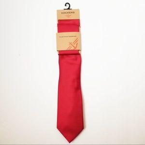 Red Tie Polka Dot Pocket Square Set Dockers New